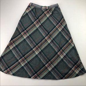 Vintage Wool Blend Plaid A-Line Skirt EUC